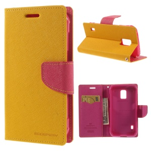 Mercury Fancy Diary Leather Stand Cover for Samsung Galaxy S5 Active (AT&T) G870A - Yellow