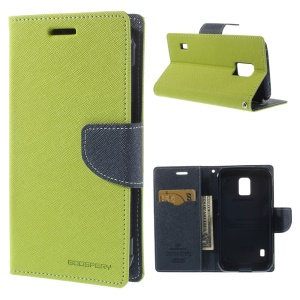 Mercury Fancy Diary Leather Case w/ Card Slots for Samsung Galaxy S5 Active (AT&T) G870A - Green