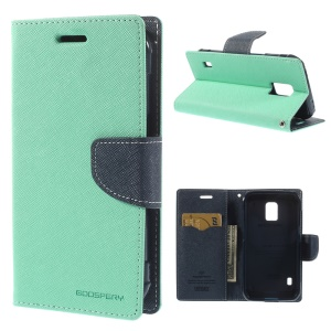 Mercury Fancy Diary Leather Cover w/ Card Slots for Samsung Galaxy S5 Active (AT&T) G870A - Cyan