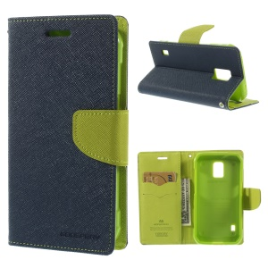Mercury Fancy Diary Magnetic Leather Stand Case for Samsung Galaxy S5 Active (AT&T) G870A - Dark Blue