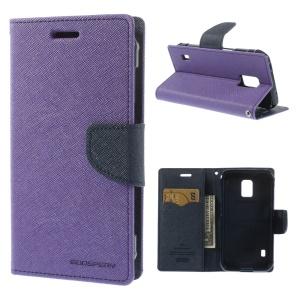 Mercury Fancy Diary Magnetic Leather Stand Cover for Samsung Galaxy S5 Active (AT&T) G870A - Purple