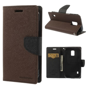 Mercury Fancy Diary Magnetic Leather Case w/ Stand for Samsung Galaxy S5 Active (AT&T) G870A - Brown