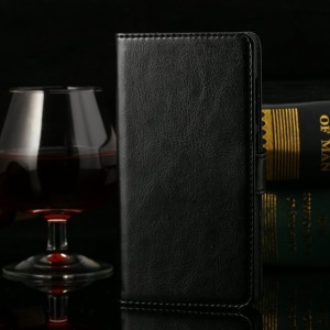 Thin Sheepskin Crazy Horse Leather Stand Case Huawei Honor 3C - Black