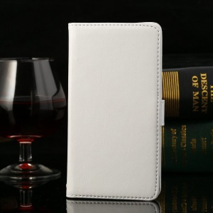 Thin Sheepskin Crazy Horse Leather Stand Cover Huawei Honor 3C - White