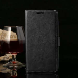 Thin Sheepskin Crazy Horse Leather Wallet Case w/ Stand for Huawei Honor 3X G750 - Black