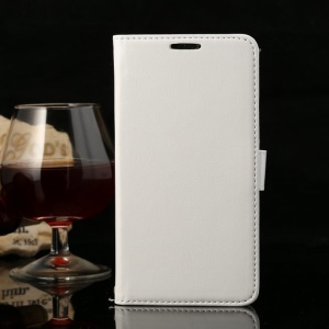 Thin Sheepskin Crazy Horse Leather Wallet Cover w/ Stand for Huawei Honor 3X G750 - White