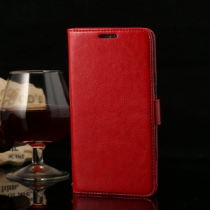 Thin Sheepskin Crazy Horse Magnetic Leather Stand Case for Huawei Honor 3X G750 - Red
