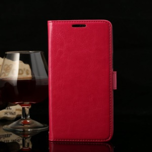 Thin Sheepskin Crazy Horse Magnetic Leather Stand Cover for Huawei Honor 3X G750 - Rose