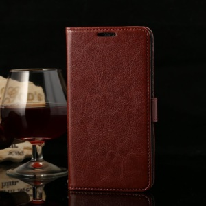 Thin Sheepskin Crazy Horse Wallet Leather Stand Case for Huawei Honor 3X G750 - Coffee