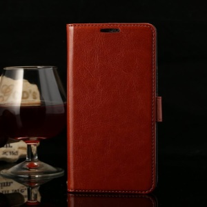 Thin Sheepskin Crazy Horse Leather Card Holder Case w/ Stand for Huawei Honor 3X G750 - Brown