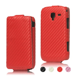 Carbon Fiber Leather Flip Case for Samsung Galaxy Ace 2 I8160