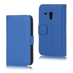 Litchi Leather Stand Case Diary Wallet for Samsung Galaxy S III / 3 Mini I8190 - Blue