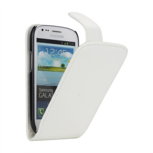 Premium Vertical Magnetic Leather Case for Samsung Galaxy S III / 3 Mini I8190 - White