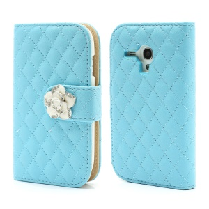 Diamond Flower Rhombus Leather Card Wallet Case for Samsung i8190 Galaxy S3 Mini - Blue