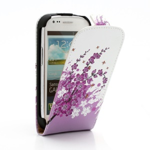 Pink Plum Magnetic Vertical Leather Case Cover for Samsung i8190 Galaxy S3 Mini