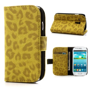 Yellow Leopard Leather for Samsung Galaxy S3 Mini I8190 Wallet Case Stand