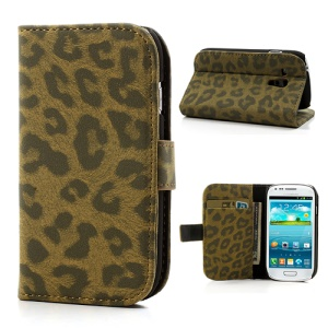 Brown Leopard Leather for Samsung Galaxy S3 Mini I8190 Wallet Cover Stand