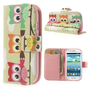 Three Owls PU Leather Wallet Case for Samsung Galaxy S3 Mini I8190 w/ Stand