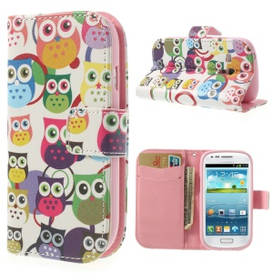 Multiple Owls Wallet Durable Leather Case Stand for Samsung Galaxy S3 Mini I8190