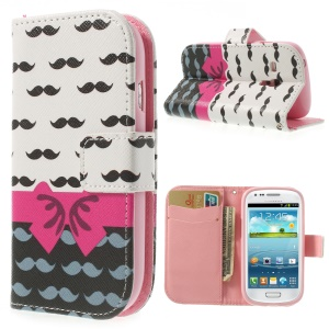 Bowknot & Mustaches Durable Leather Wallet Case for Samsung Galaxy S3 Mini I8190