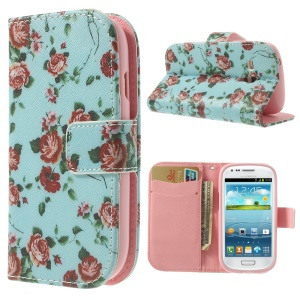 Pretty Rose Blue Background Wallet Leather Cover for Samsung Galaxy S3 Mini I8190