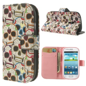 Colorful Skull Heads Leather Phone Case for Samsung Galaxy S3 Mini I8190 w/ Card Slots