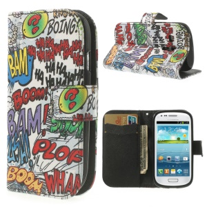 Graffiti HAHA BOOM Stand Leather Shell for Samsung Galaxy S3 Mini I8190 w/ Card Slots
