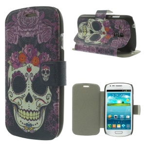Sugar Skull Folio Leather Stand Cover for Samsung Galaxy S3 Mini I8190