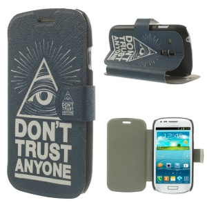 Folio Leather Stand Case for Samsung Galaxy S3 Mini I8190 - Do not Trust Anyone
