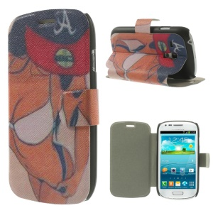 Folio Leather Stand Case for Samsung Galaxy S3 Mini I8190 - Sexy Breasts Girl