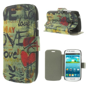 Folio Leather Stand Case for Samsung Galaxy S3 Mini I8190 - Graffiti Love Heart