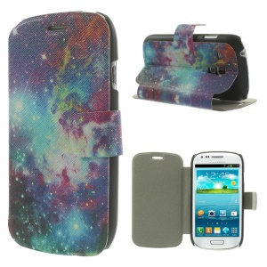 Magentic Leather Stand Shell for Samsung Galaxy S3 Mini I8190 - Sparkling Nebula Galaxy