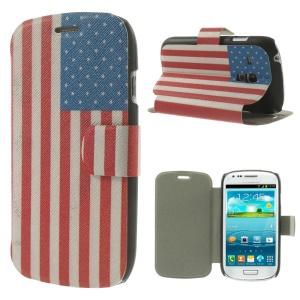 USA American Flag for Samsung Galaxy S3 Mini I8190 PU Leather Magnetic Cover