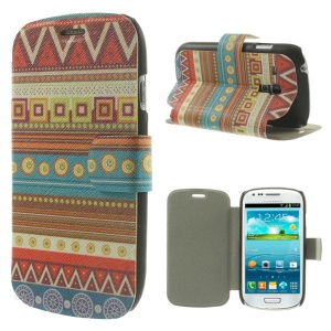 Colorful Tribal Pattern for Samsung Galaxy S3 Mini I8190 Leather Stand Phone Cover