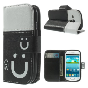 Smiling Face Stitching Wallet Leather Case w/ Stand for Samsung Galaxy S3 Mini I8190 - White / Black
