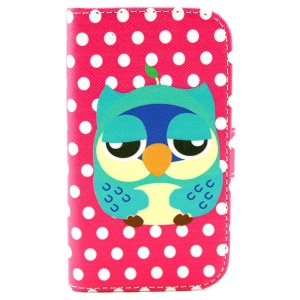 Owl & Dots Wallet Leather Case w/ Stand for Samsung Galaxy S3 Mini I8190