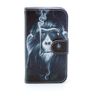 PU Leather Wallet Case for Samsung Galaxy Core I8260 I8262 - Funny Monkey Smoking