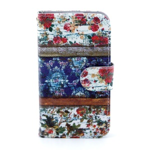 PU Leather Cover Card Holder for Samsung Galaxy Core I8260 I8262 - Flowers Painting