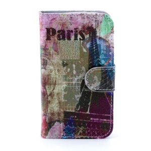 Leather Cover Card Holder for Samsung Galaxy Core I8260 I8262 - Paris Eiffel Tower