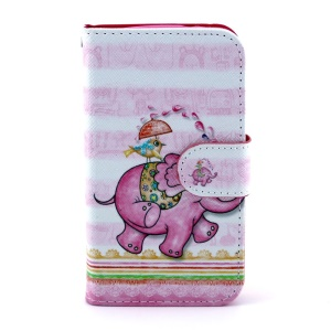 Leather Flip Cover for Samsung Galaxy Core I8260 I8262 - Cartoon Elephant & Bird