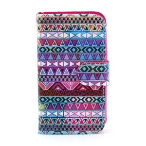 Leather Flip Stand Cover for Samsung Galaxy Core I8260 I8262 - Aztec Tribal Pattern
