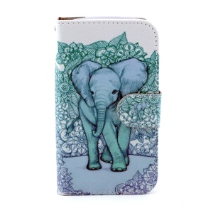 Leather Flip Wallet Cover for Samsung Galaxy Core I8260 I8262 - Elephant Art Print