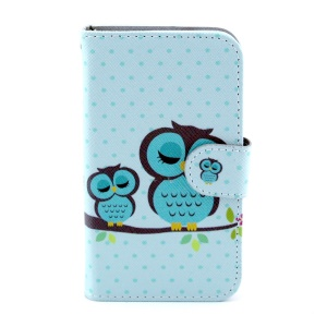 Leather Wallet Stand Case for Samsung Galaxy Core I8260 I8262 - Green Sleeping Owl