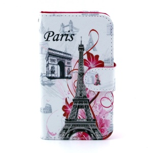 Leather Card Slot Case for Samsung Galaxy Core I8260 I8262 - Paris Elements Pattern