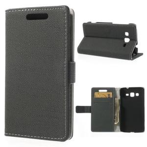 Cloth Skin PU Leather Wallet Case w/ Bracket for Samsung Galaxy Core Advance I8580 - Dark Grey