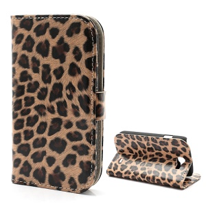 Leopard Card Slots Leather Stand Case Cover for Samsung Galaxy Express I8730