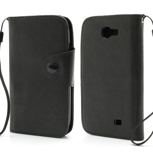 MLT Magnetic Leather Wallet Flip Card Slots Case for Samsung Galaxy Express I8730 - Black