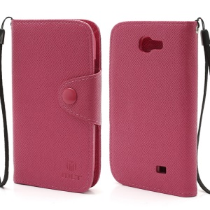 MLT Magnetic Leather Wallet Flip Card Slots Case for Samsung Galaxy Express I8730 - Rose