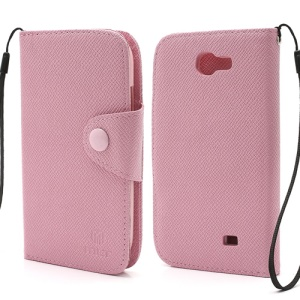 MLT Magnetic Leather Wallet Flip Card Slots Case for Samsung Galaxy Express I8730 - Pink