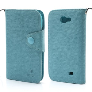 MLT Magnetic Leather Wallet Flip Card Slots Case for Samsung Galaxy Express I8730 - Blue